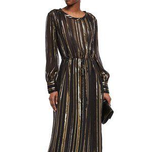 IRO Beloved metallic silk-blend chiffon midi dress